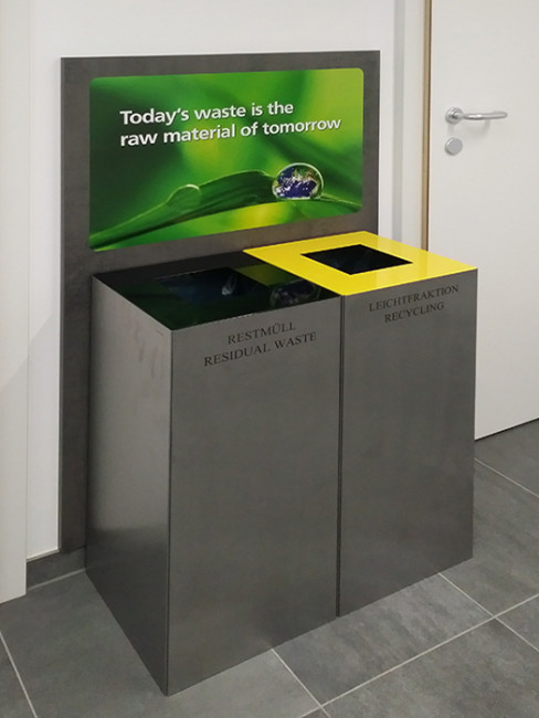 SN-241 Litter Bin made of powdercoated galvanised steel with vinyl cut lettering and colour coded tops
