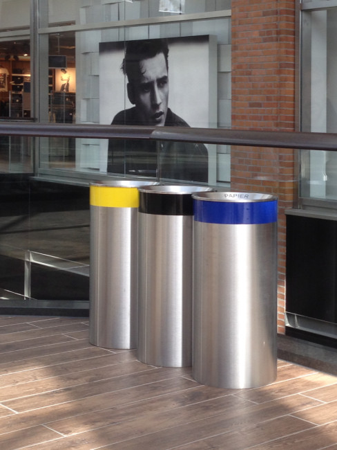 SN-340 Large Capacity Litter Bins with colour rings for use as litter separation bins by customer specification