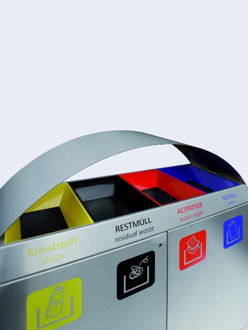 farbige Trichter und Folienbeschriftung zur klaren Kennzeichnung der einzelnen Fraktionen
