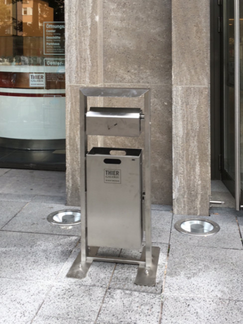 SN-254-D Ashtray and litter bin for outdoors, floor bolted