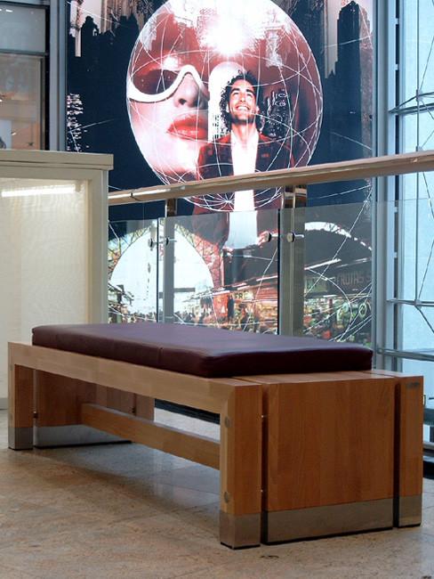 Sitzbank ANDANTE Buche, mit Sitzauflage aus gepolstertem Leder
