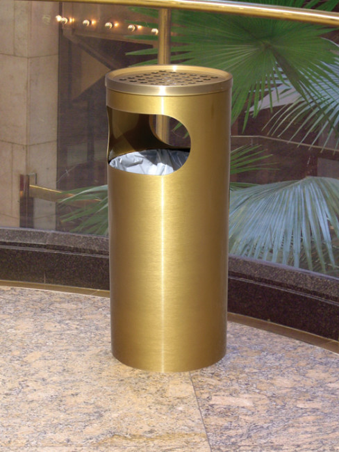 SN-140 Smoker Stand and Litter Bin in special colour antique brass