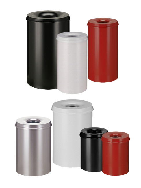 Abfallbehälter mit Trichteraufsatz aus lackiertem Stahlblech